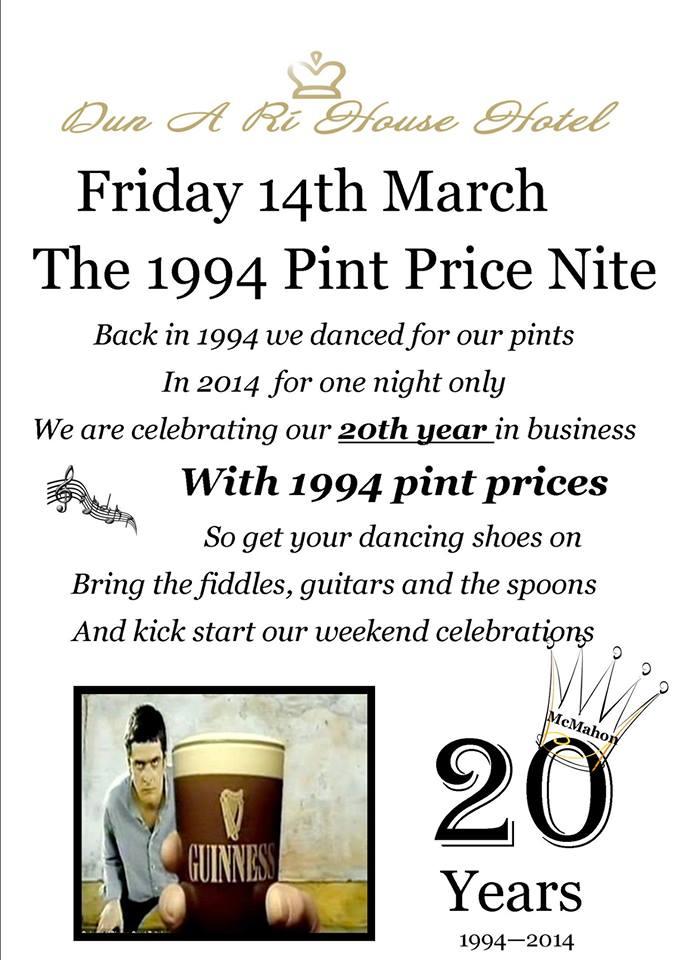 Fri March 14th 1994 Prices Night Dun A Ri House Hotel